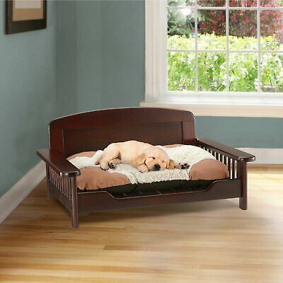 Pet Dog Bed Wood Furniture Wooden Couch Sofa Seat Chair Large Cherry Brown Frame