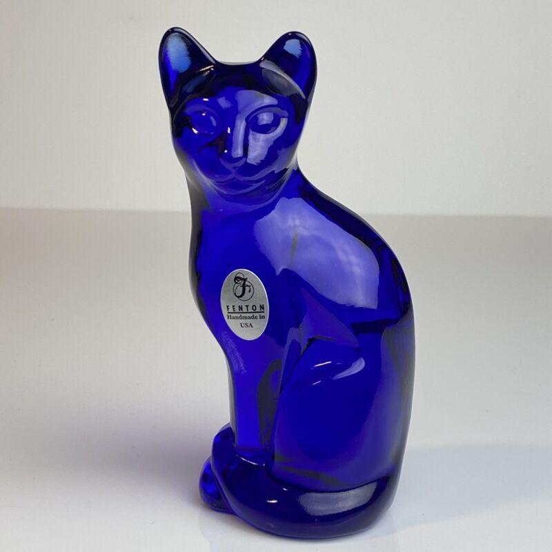 "Fenton Glass Stylized Cobalt Blue Cat 5"" Large"