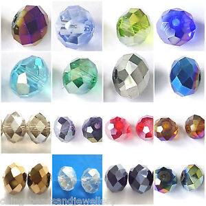 60-Crystal-Glass-8x6mm-Faceted-Rondelle-Beads-All-Colours