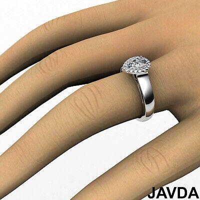 Halo Filigree Shank Pear Shape Diamond Engagement Ring GIA E Clarity VS1 0.92Ct  3