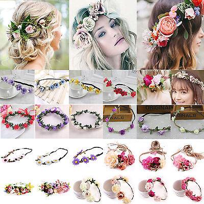 Boho Haarband Blumen Kranz Blüten geflochten Stirnband Festival Party Hochzeit F
