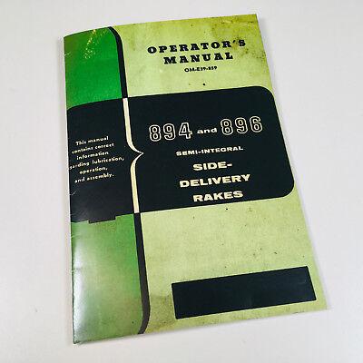 Operators Manual For John Deere 894 896 Semi Integral Side Delivery Rake Owners