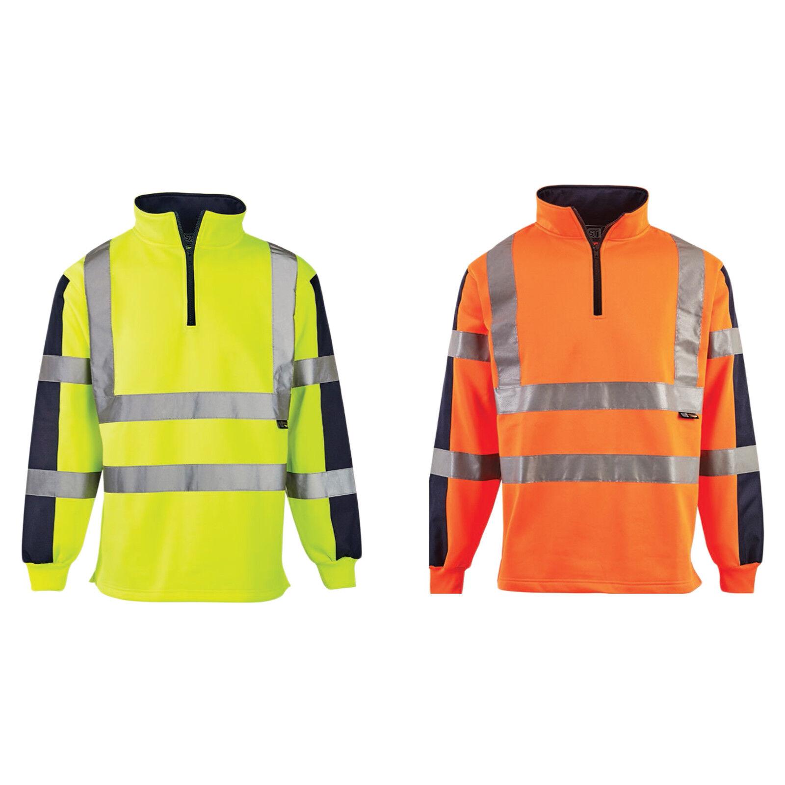 High Visibility Full-Zip Fleece Jacket Hi-Viz Work Uniform Safety Workwear Top