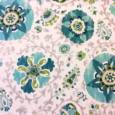 SYM101 Blue White Floral Medallion Garden Geo Flower Patio Indoor Outdoor Fabric