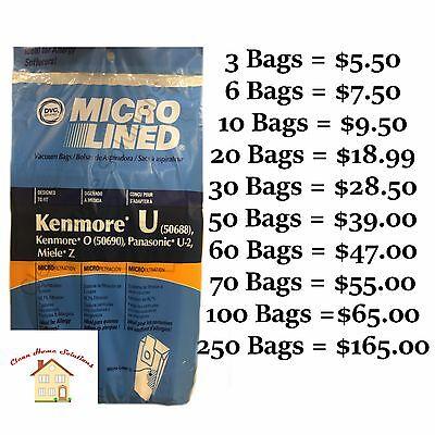 - Sears Kenmore Type U & O Vacuum Bags For Models- 50688, 5068, & 50690