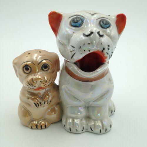 Vintage Bonzo Dogs Salt Pepper Shaker Condiment Set Lusterware Ceramic Japan