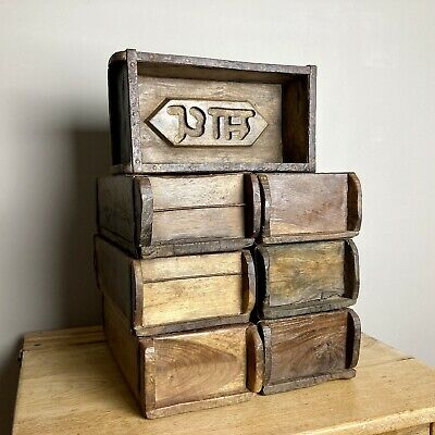 Vintage Authentic Indian Wooden Brick Mould Display Shelf Storage Crate Planter