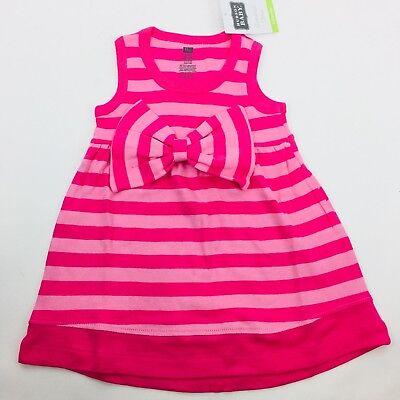 Hudson Baby Girls Dress Sleeveless Pink Stripe with Waist Bow 6-9 Months NEW NWT