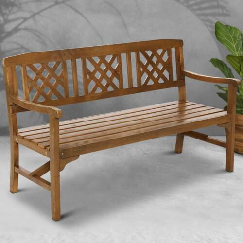 Garden Furniture - 3 Seater Wooden Garden Park Bench Seat Timber Outdoor Furniture Chair Patio Deck