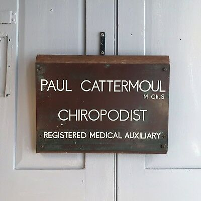 Antique/vintage English Chiropodist copper name plate sign plaque