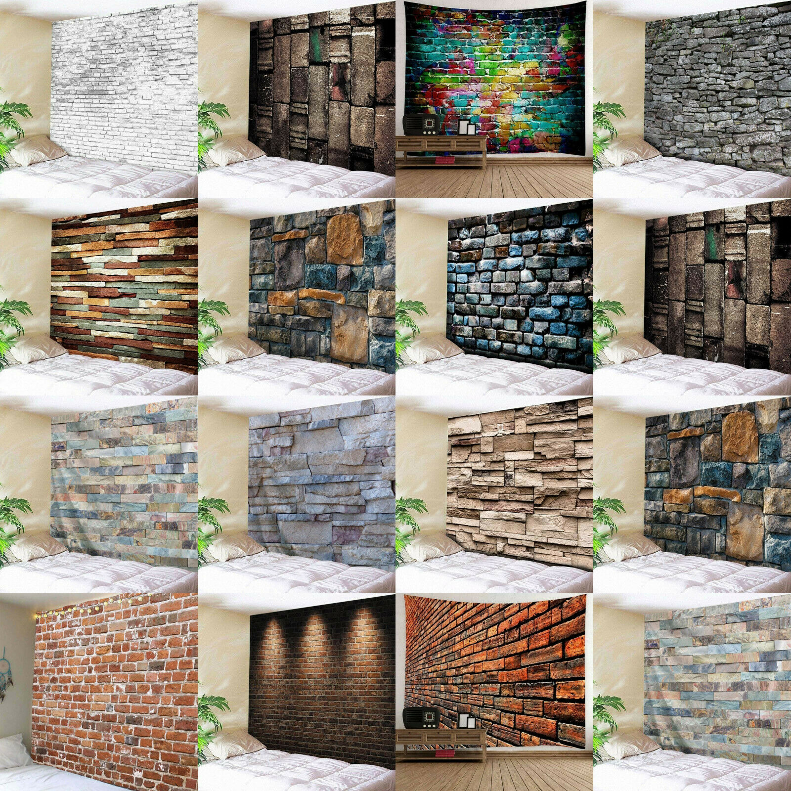3D Brick Stone Tapestry Wall Hanging Art Room Bedspread Deco