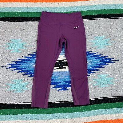 NIKE Unceasing Dri-Fit Drawstring Yoga Gym Activewear Mesh Capri Leggings Sz. M