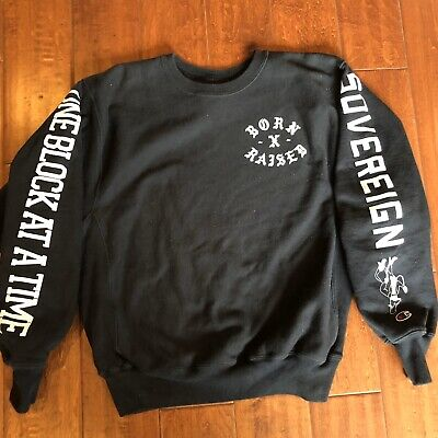 Born x Raised Champion Crewneck Sweatshirt Jumper Reverse Weave sz Medium Black