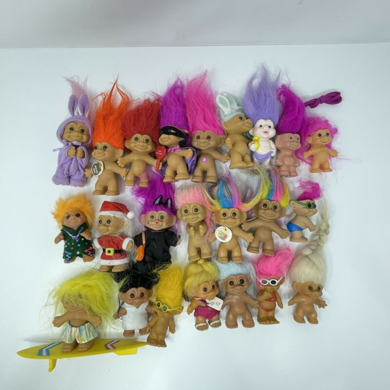 "Lot of 23 Vintage Troll Dolls Russ Ace Norfin 3"" And Below Sizes"