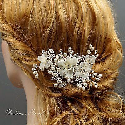 Bridal Hair Clip Ivory Silk Flower Crystal Pearl Headpiece Wedding Accessory 274