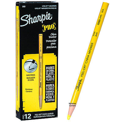 Sharpie Pro Yellow Peel Off China Markers Grease Pencil 02083 170t Box Of 12