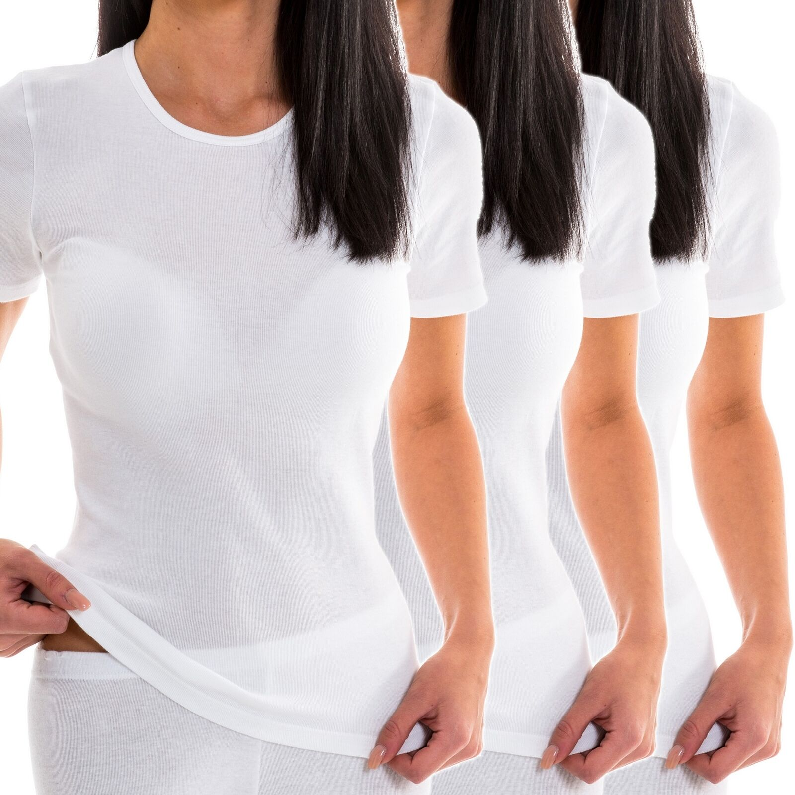3er Pack Damen Shirt Baumwolle mit kl. Fehlern kurzarm Unterhemd HERMKO 441800