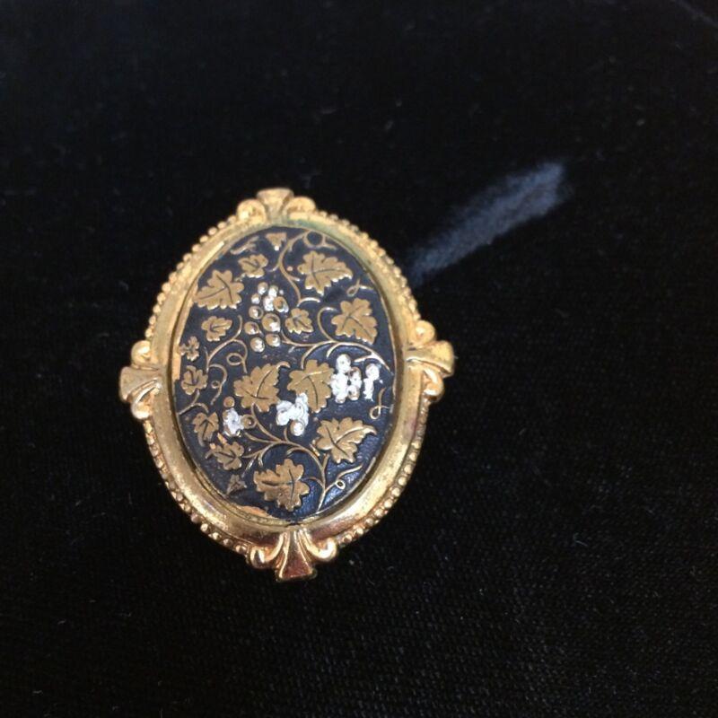 Vintage Scarf Holder Gold Toned with Grape and Grape Leaf Design