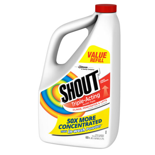 Shout Laundry Stain Remover Refill, Triple-Acting, 60 fl oz--Expedited Shipping