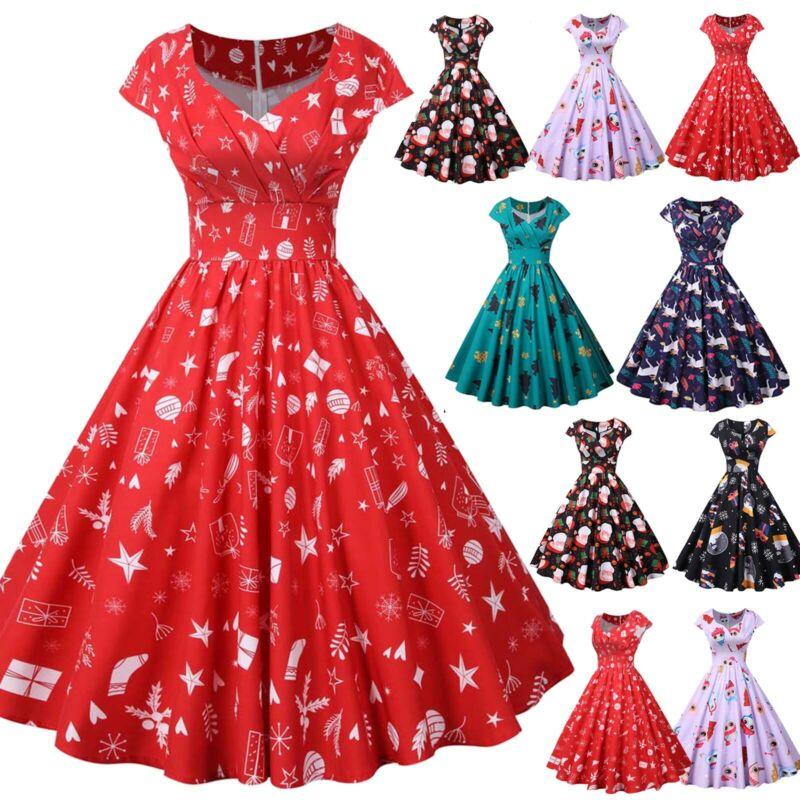 Weihnachten Kleider Damen Xmas Santa Retro Partykleid ...