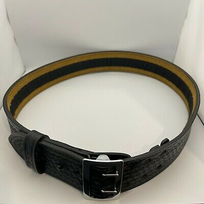 Safariland 87 Duty Belt Basketweave Black Hook Lined W Chrome Buckle - 40
