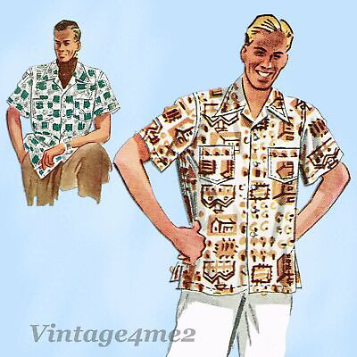 1940s Men's Shirts, Sweaters, Vests McCall's 7499: 1940s Classic Men's Sports Shirt Size MED Vintage Sewing Pattern $22.95 AT vintagedancer.com