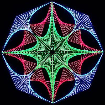 Stringart UV Deko - Goa Psy Trance Party - Schwarzlicht Fadenkunst - Achteck 1
