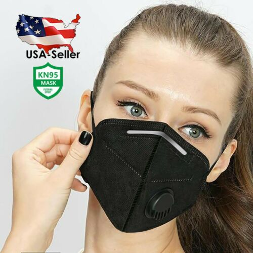 [5 PIECES/PACK] BLACK Reusable Face Mask with Breathing Valve | USA SELLER