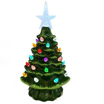 Christmas is Forever Light Up Tree Ceramic Green Glazed Colored Bulbs 7.5 Mint