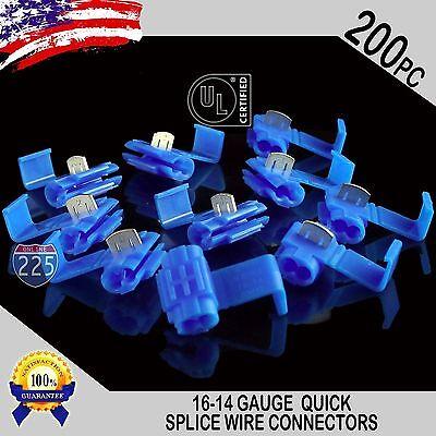 200 Pack 16-14 Gauge Blue Quick Splice Tap Wire Connectors Install Terminals Ul