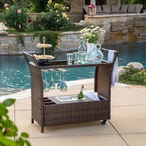 Bahama Outdoor Wicker Bar Cart with Tempered Glass Top Home & Garden
