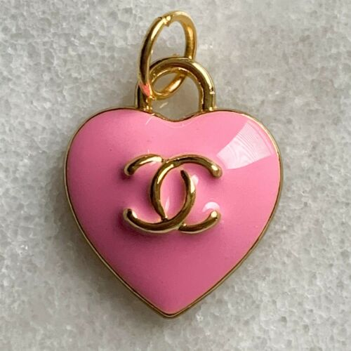 Chanel Pink Heart Zipper Pull Charm Stamped Auth 15 mm