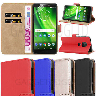 CASE FOR MOTO G6 PLAY REAL GENUINE LEATHER SHOCKPROOF WALLET FLIP COVER