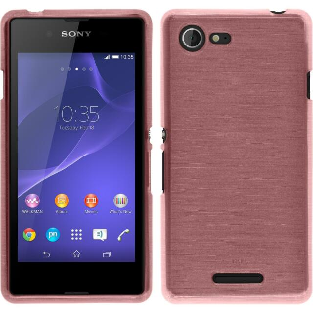 Silicone Case Sony Xperia E3 - brushed pink + protective foils
