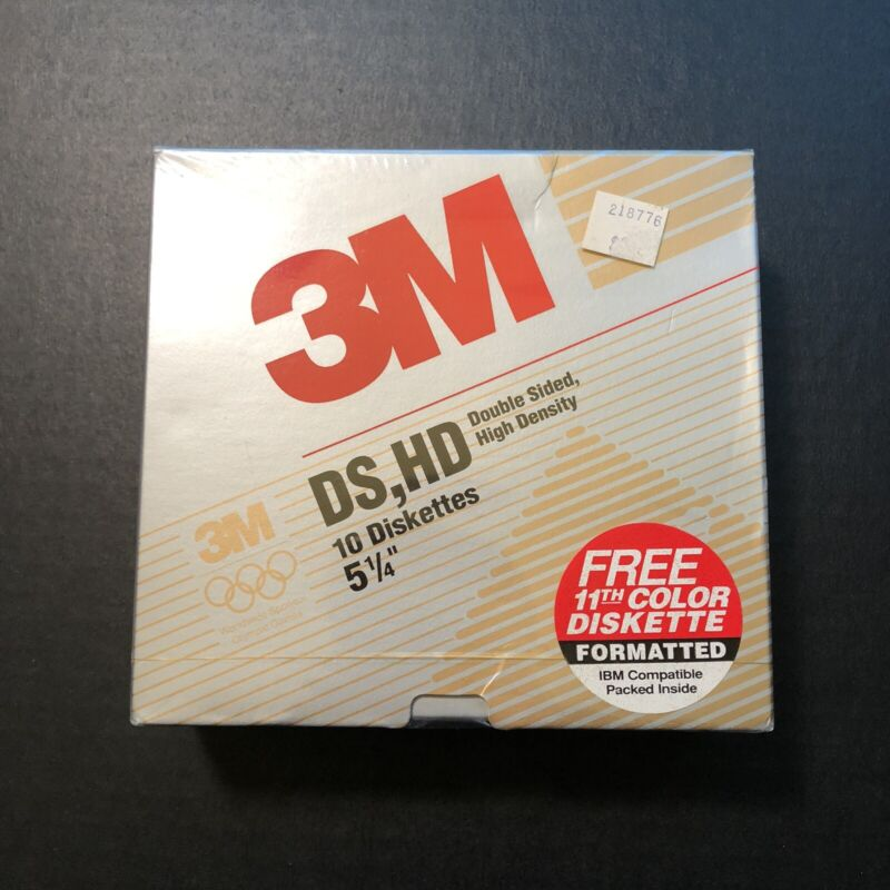 "NEW 3M High Density DS HD Diskettes 11 Ct. Formatted IBM AT Compatible 5.25"" SEA"