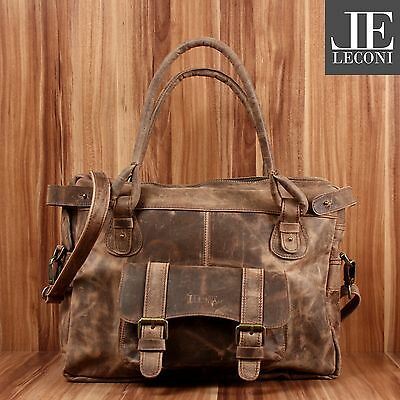#553 LECONI Schultertasche Damentasche Handtasche Leder schlamm LE0050-w B-Ware