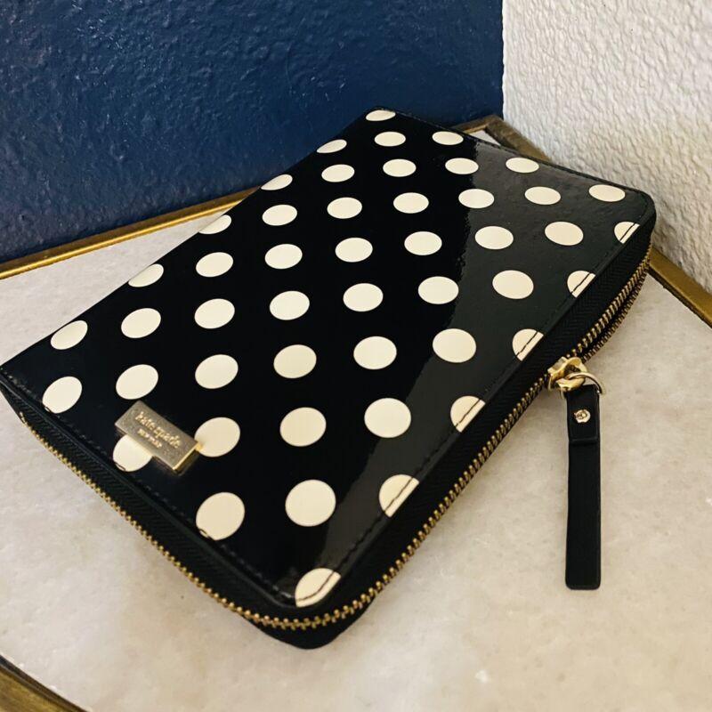 Kate Spade Carlisle Polka Dot Patent Leather Zip Planner Organizer Agenda