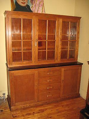 WE SHIP! Oak School Cabinet Step Back Cupboard China Bookcase E H Sheldon 1920's