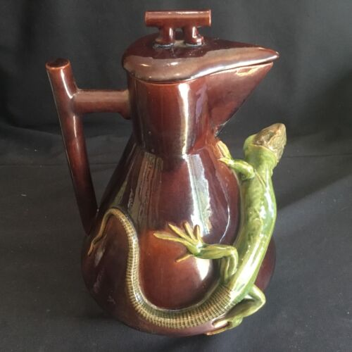 Large Antique Christopher Dresser Pottery Teapot Figural Applied Lizard Kumassie