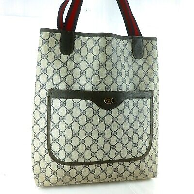 GUCCI GG Pattern Coated Canvas Vintage Tote Bag Purse Gray Black
