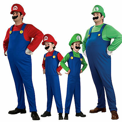 Erwachsene/Kinder Cosplay Super Mario Luigi Brothers Klempner Kostüm Fasching (Super Mario Kostüm)