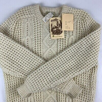 Gaeltarra Handloomed Cableknit Fisherman Sweater Mens Sz 44 Cream Ivory Wool NWT