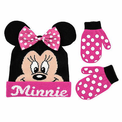 Disney Minnie Mouse Bowtique Polka Dot Hat and Mitten Set, Toddler Girls Age 2-4