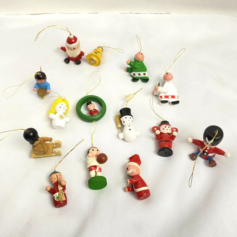 Vintage Lot of Miniature Painted Wooden Figural Christmas Tree Ornaments