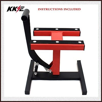 300KG 661LB MX Motorcycle Adjustable Lifts Hoist Stand Universal Red
