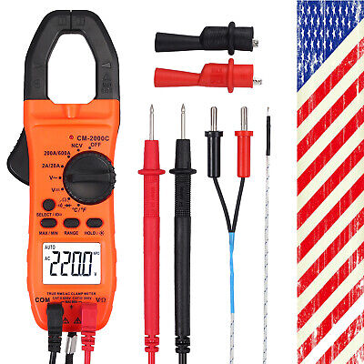 Digital Lcd Multimeter Trms 600a Ac Dc Volt Meter Ncv Temperature Clamp Tester