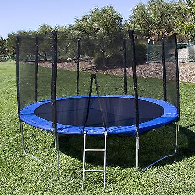 BCP 12' Round Trampoline Set With Safety Enclosure, Padding & Ladder