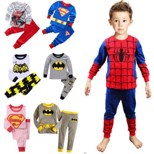 Kids Boys Girls Superman Batman Long Sleeve Pajamas Set Tops