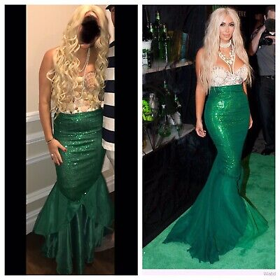 Custom Mermaid Costume (Mermaid Costume Blonde Wig Green Skirt Seashell Top Bustier Custom Made)