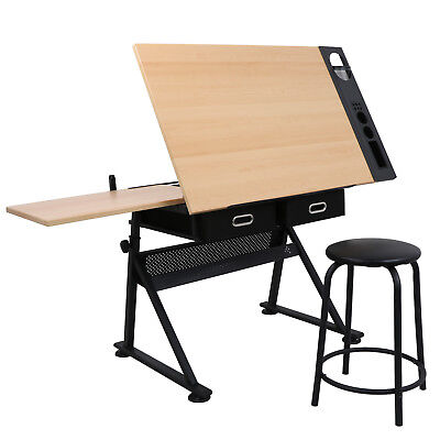 Adjustable Drafting Table W/ Stool 9 Levels of Angle & 6 Levels of Height EZ Set Art Supplies